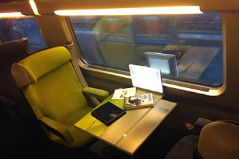 Seat on a Paris-Milan TGV train