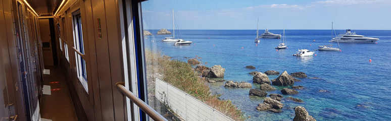 Coastal view from the Palermo to Milan sleeper train