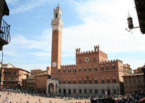 Take the train to Italy!  The main piazza in Siena.