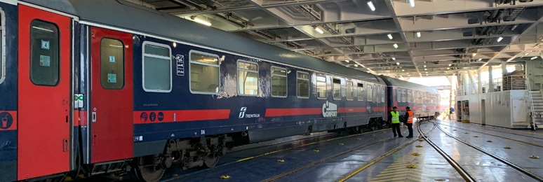 Sleeper train to Sicily on board the train  ferry