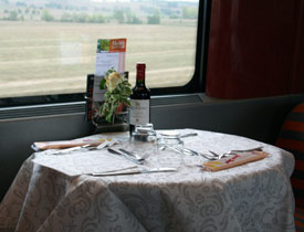 Table for two on a Eurostar Italia train from Venice to Florence, Rome or Naples