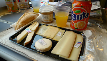 Food on board the TGV from Milan to Paris
