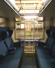 4 or 6-berth couchette compartment, with seats folded out, on the Thello sleeper trains from Paris to Italy...