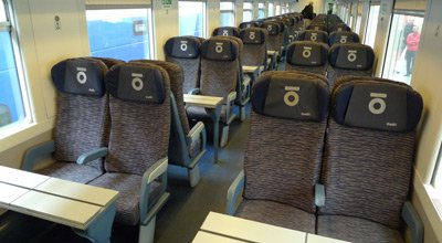 2nd class seats on the Thello train from Nice to Milan