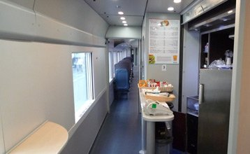 Cafe counter on the Thello train from Nice to Milan