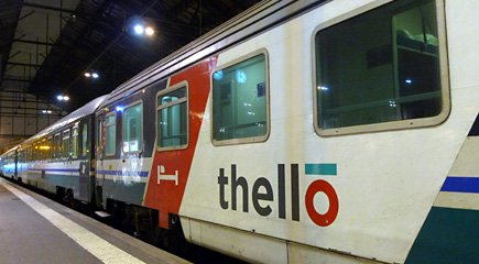 Boarding the Thello sleeper train at Paris.
