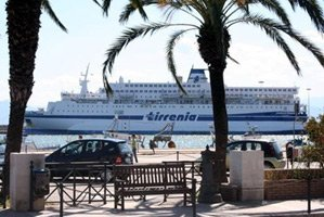 A Tirrenia Line ferry arrives in Sardinia