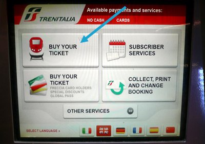 Trains in Italy:  Touch 'buy your ticket' to buy a ticket or make a railpass reservation
