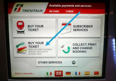 Touch 'buy your ticket - global pass' to make a railpass reservation