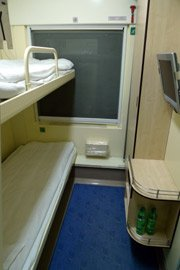 A deluxe sleeper on the Amsterdam to Warsaw train