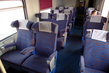 The Polish reclining seats on the Jan Kiepura EuroNight train from Amsterdam to Warsaw