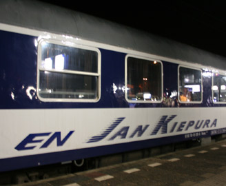 A couchette car on the Jan Kiepura EuroNight train from Amsterdam to Warsaw