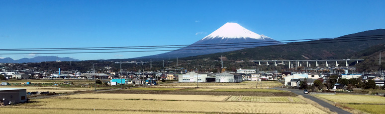 Mount Fuji on a clear day from a shinkansen