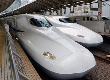 Series N700 shinkansen train in Japan