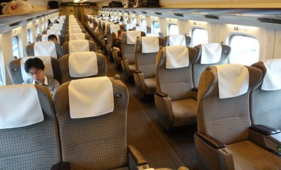 Green Car seats on an N700A shinkansen