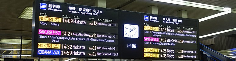 Train departure board at Tokyo station