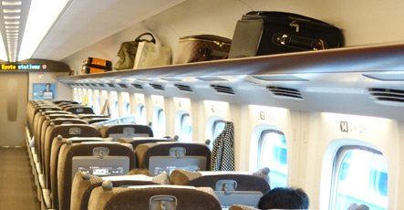 Luggage racks on Shinkansen train