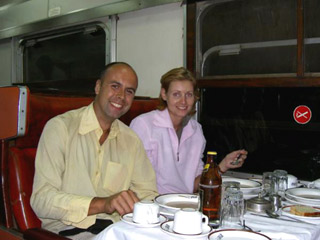 In the restaurant car, on the Nairobi - Mombasa train