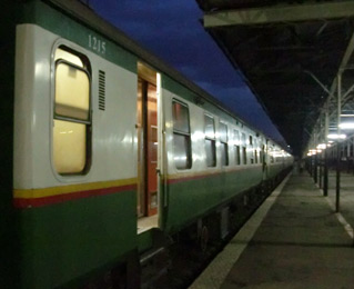 First class sleeping-car exterior, Nairobi to Mombasa train