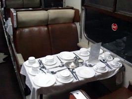 Table set for dinner on the Nairobi to Mombasa train