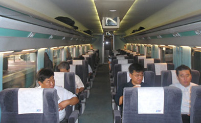 First class on the Seoul to Pusan KTX train