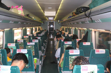 2nd class on the Seoul to Busan KTX train