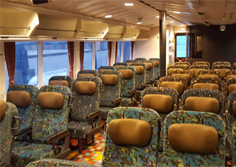 Seats on the beetle ferry between Japan and Korea