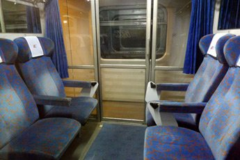 A 6-seat compartment on a Warsaw to Krakow train
