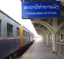 The tracks at Thanaleng station in Laos