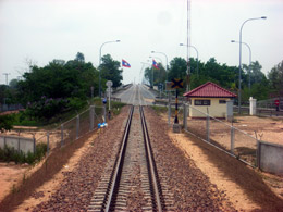 Looking back along the tracks as the train from Bangkok heads off the Bridge towards Thanaleng