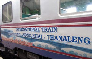 The internationalo train from Laos to Thailand