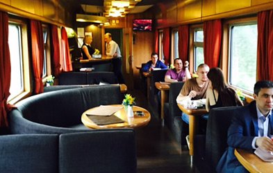 Restaurant car on Riga to Moscow train