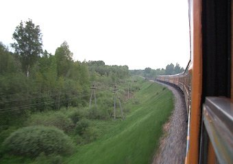 Through the Latvian & Russian countryside on the train from Riga to Moscow