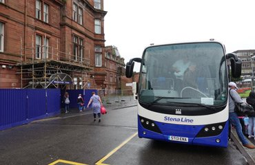 Stena Line transfer bus outside Ayr station