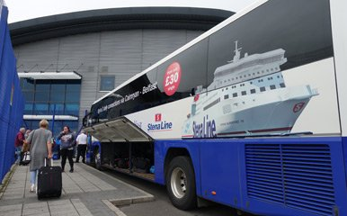 Stena Line transfer bus at Cairnryan ferry terminal