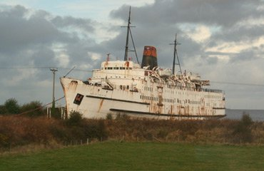 The old ferry Duke of Lancaster, seen from the train