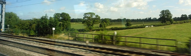 English countryside seen from the train to Holyhead
