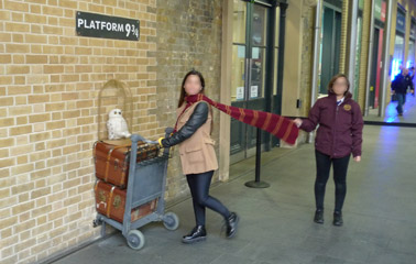 Platform 9 3/4 - the Harry Potter exhibit at Kings Cross