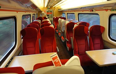 Standard class seats on a London to Edinburgh train