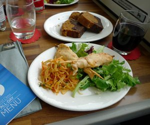 Complimentary food & wine in 1st class