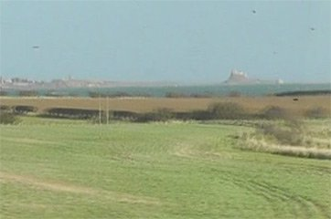 Lindisfarne castle, seen from the train