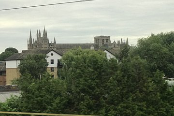 Peterborough cathedral from the train