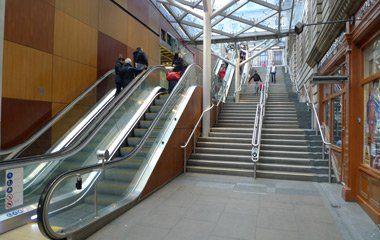The steps from Waverley station to Princes Street