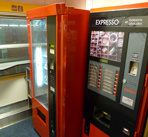 Vending machines on Intercite de Nuit overnight trains
