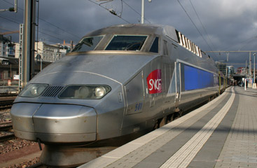 A TGV about to leave Luxembourg for Paris