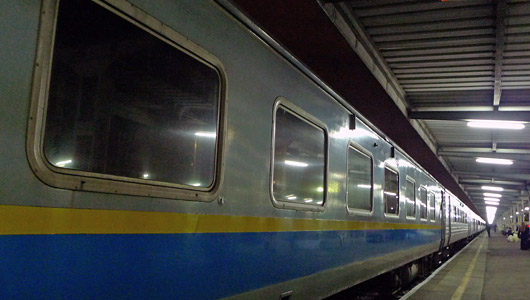 The sleeper train from Penang to Kuala Lumpur about to leave Butterworth station.