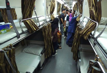 KTM (Malaysian Railways) 2nd class sleeper aisle