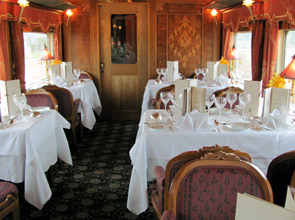 The elegant dining-car on the Eastern & Oriental Express from Singapore to Bangkok