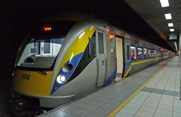 An air-conditioned ETS train at Kuala Lumpur Sentral