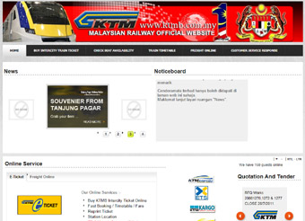 The KTM website www.ktmb.com.my
